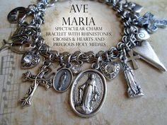 Ave Maria Charm Bracelet, Stunning Virgin Mary Beauty, Our Lady of Lourdes, Guadalupe, Miraculous Medals, Charms, Rhinestones, Crosses
