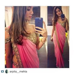 Our very own designer Arpita Mehta showing us how to look like a dream in our new summer sari- champagne scallop blouse and rose pink shaded sari #arpitamehta #summer2016 #sari  #Repost @arpita__mehta with @repostapp. ・・・ Wearing my new summer sari  #rosepink #scalloppattern #weddingscenes #aboutlastnight #keepingitsimple:)