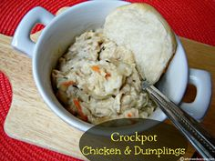 Crockpot Chicken & Dumplings this is one of the best slow cooker meals I have made - the dumplings are awesome and it's so delish.  A must pin