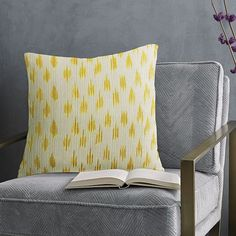 Metallic Ikat Dot Pillow Cover - Horseradish | west elm