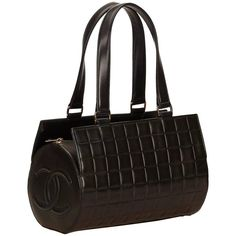 Chanel Black Lamskin Leather Chocolate Bar Shoulder Bag | From a collection of rare vintage shoulder bags at https://www.1stdibs.com/fashion/handbags-purses-bags/shoulder-bags/