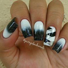 Black white and silver ombre striped nailart #nailart #nails #black #white #stripe #silver #ombre