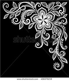 Paisley Floral Zen Images, Stock Photos & Vectors - beautiful monochrome black and white flowers and leaves isolated. Floral design for greeting card and invitation of wedding, birthday, Valentine's Day, mother's day and seasonal holiday – stock vector - Embroidery Patterns, Hand Embroidery, Drawing Apple, Henna Doodle, Beautiful Flower Drawings, Black Paper Drawing, Free Adult Coloring, White Henna, Black And White Flowers