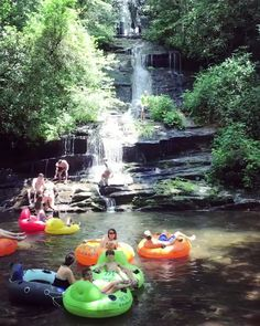 Summer time tubing at Deep Creek's Tom Branch Falls, Great Smoky Mountains National Park by Vacation Places, Vacation Trips, Vacation Spots, Beautiful Places To Travel, Cool Places To Visit, Places To Go, Bryson City North Carolina, North Carolina Mountains, Carolina Mountain Vacations