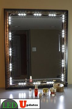 Mirror LED Light For Cosmetic Makeup Vanity Mirror Lighted White With Power Led Vanity Lights, Mirror With Lights, Vanity Lighting, Strip Lighting, Lighted Mirror, Makeup Vanity Mirror, Diy Mirror, Vanity Lamp, 36 Vanity