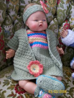 Crochet dres, jacket & headband.