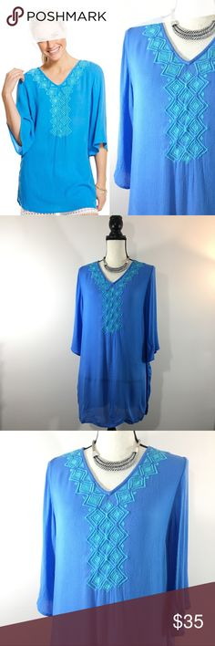 "Lilly Pulitzer Target Embroidered Blue Bell Tunic Lilly Pulitzer for Target Blue Bell Top M Medium Loose Fit Embroidered Tunic  Made in India  Bright blue embroidered tunic top form the Lilly Pulitzer for Target collection. Features 3/4 length sleeves and a v-neckline.   In nice pre-owned condition, slight no stains or odors.  Underarm to underarm: 19.75""  Sleeve length: 14""  Total length: 28.25"" (at longest point) Gauzy, embroidered tunic is perfect as a swimsuit coverup or paired with…"