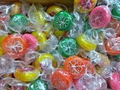 Fruit-flavored (orange, lime, lemon,strawberry) hard candies are tangy and refreshing.