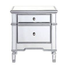 Elegant Lighting Chamberlan 24 Inches Wide 2 Drawer Hand Painted Wood N Silver Indoor Furniture Storage Nightstand Contemporary Cabinets, Contemporary Style, Wood Nightstand, Mirror Cabinets, Storage Cabinets, Cabinet Styles, Decoration, Painting On Wood, End Tables