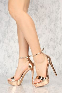 5dbb8c08707 Sexy Rose Gold Open Toe Ankle Strap Platform Stiletto High Heels