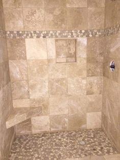 Java Tan and White Pebble Tile Border – Diy Bathroom Remodel İdeas Tan Bathroom, Bathroom Flooring, Bathroom Ideas, Bathroom Shower Remodel, Bathroom Tile Showers, Master Shower Tile, Tile Bathrooms, Rental Bathroom, Restroom Ideas