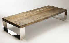 Wood Chrome L Coffee Table