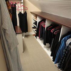 Attic Closet Design, I like having the shelf over the knee wall storage - for loft bedroom storage Attic Bedroom Closets, Bedroom Closet Storage, Attic Closet, Bedroom Closet Design, Upstairs Bedroom, Attic Bathroom, Attic Rooms, Closet Designs, Storage Closets