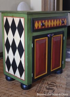 Painted Chest with Harlequin Pattern www.beyondthescre& Painted Chest with Harlequin Pattern www.beyondthescre& The post Painted Chest with Harlequin Pattern www. Decor, Diy Furniture, Furniture Painting Patterns, Painted Chairs, Chalk Paint Furniture, Whimsical Furniture, Painted Screen Doors, Whimsical Painted Furniture, Home Decor Furniture