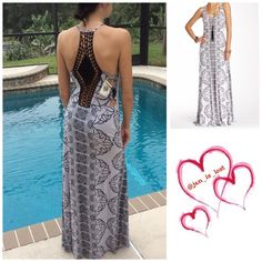 """Sea Gypsies Maxi Dress Sleeveless, crochet racer back, side cut outs with criss cross strap details. Overall length 62"""" 95% viscose with 5% elastane . No Trades ✅ Offers Considered*✅ *Please use the blue 'offer' button to submit an offer. Sea Gypsies  Dresses Maxi"""
