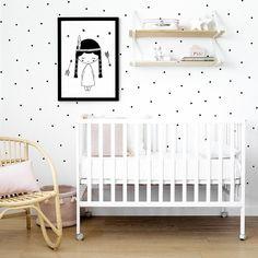 Vinilo negro Dots | Dots, un vinilo para decorar la habitación de los más peques de a casa. Formado por todas las figuras de la imagen. Recorta y pega a tu gusto en toda la pared, ¡Quedará genial!  Incluye instrucciones de colocación. Nursery Inspiration, Kids Bedroom, Baby Room, Cribs, New Baby Products, Toddler Bed, Interior Design, Furniture, Home Decor