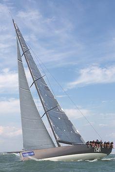 The Judel-Vrolijk Mini Maxi yacht 'Ran' racing in the Solent during Cowes Week 2013