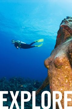 Standing at 9 feet, 600 pounds, the statue of Amphitrite is directly accessible to divers, located roughly 50 feet off the shore by Sunset House on Grand Cayman Island.