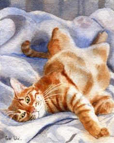 Orange Tabby Cat Print of Painting Art Marmalade  von rachelsstudio, $25.00