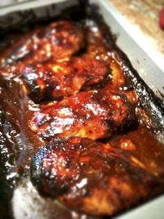Barbecue chicken, sauce uses 2 cans of root beer, chicken needs time to marinate