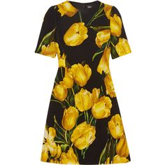 Dolce & Gabbana Floral-print wool-crepe mini dress ($2,275) ❤ liked on Polyvore featuring dresses, yellow, floral dresses, colorful dresses, short yellow dress, a-line dresses and floral a line dress