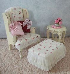 Shabby Doll House | dolls house furniture - shabby chic chair, footstool and table