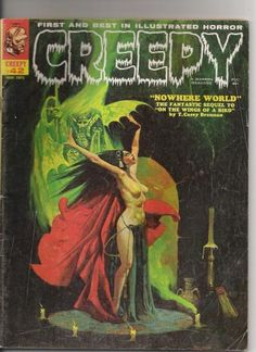 Classic Horror Comic Creepy 42  Published 1971.  Magazine size.  Color cover by Sanjulian  Black and white interior art by Auraleon, Dave Cockrum, Jerry Grandenetti, Bruce Jones, Gary Kaufman, Ken Kelly, Joe Stanton.  Writers include Steve Skeates, Gardner Fox, Don Glut (who went on to write scripts for many TV series including Transformers, He-Man and Ducktales).  Includes letters by Ernie Colon (reprinted from the New York Times) and future writer/artist Frank Miller.