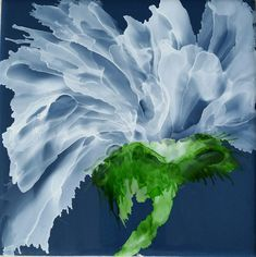 Flower in white alcohol ink on 6x6 slate blue ceramic tile by Tina