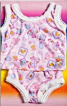 3-teiliges Set gestrickt Puppenkleidung Gr 32-35 cm