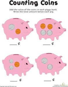 Worksheets: Counting Coins in the Piggy Bank