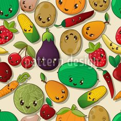 Happy Thanksgiving! Cute surface pattern design with kawaii style fruits and vegetables designed by Richard Laschon, available on patterndesigns.com