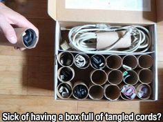 organizing electronics cords  --  so simple I'm upset I didn't think of that first
