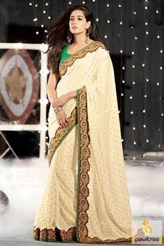Pavitraa Off #White and #Green Stunning #Embroidery #Sarees