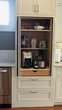 Coffee/appliance cabinet Grey Kitchen Cabinets, Kitchen Reno, Kitchen Remodel, Kitchen Ideas, Microwave Cabinet, Appliance Cabinet, Basement Remodeling, Kitchen Organization, Home Kitchens