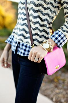 Flannel, Zigzag sequins, Pink