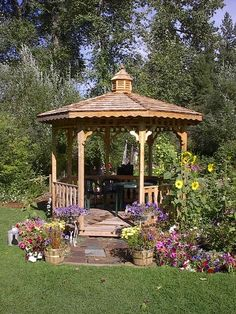 How about building or buying a Gazebo/Pergala? Gazebo On Deck, Backyard Gazebo, Garden Gazebo, Pergola Attached To House, Lawn And Garden, Green Garden, Weeks Roses, Gazebos, Arbors