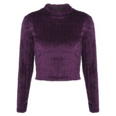 Fuzzy Cropped Pullover Sweater (48 BRL) ❤ liked on Polyvore featuring tops, sweaters, twinkledeals, crop top, fuzzy crop top, pullover top, purple sweater and cut-out crop tops