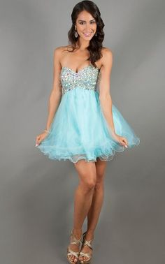 Blue Short Sparkly Rhinestone Top Open Back Prom Dress
