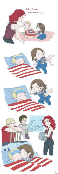 plumagesilas: Steve and Bucky babies: Sick by SilasSamle I meet my dentist…… my teeth… So this↑ poor Steve baby XD OMG LOOK AT TINY BUCKY'S LITTLE BUTTFLAP