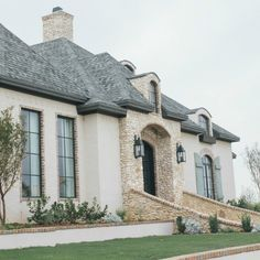 French country home exterior with brick, stone, rustic shutters and arches. – rustic home exterior French Country Exterior, Country Home Exteriors, Modern French Country, French Farmhouse Decor, French Country Kitchens, French Country Cottage, French Country Decorating, Country Houses, French Style Homes