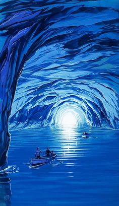 The Blue Grotto In Capri By Mcbride Angus