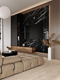 Luxury Interior, Room Interior, Home Interior Design, Marble Interior, Modern Apartment Design, Luxury Home Decor, Home Living Room, Living Room Decor, Black Living Rooms