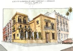 09Jun16CasaTemprado | por Alfonso García García AG Pen And Watercolor, Watercolor Paintings, Architectural Sketches, Urban Sketchers, Cubism, Sketching, Art Quotes, Illustration Art, Architecture