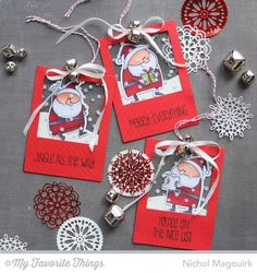"""Santa See Thru Gift Tags"" with VideoTutorial {Great to add to plain white gift bag for instant decoration!} 
