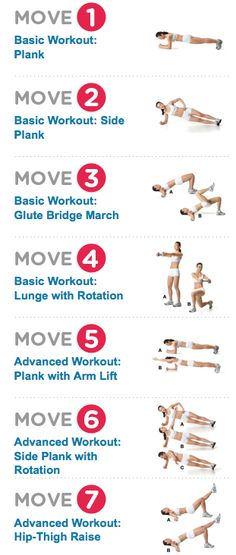 7 Workout moves for core strength. Great for improving posture!