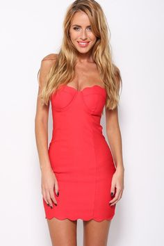 Angelica Red Laser Cutout Strapless Mini Dress