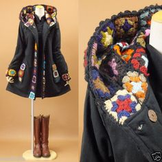 Korean Japanese Fashion Flower Pattern Handmade Knit Hood Coat (Crochet reason number 847). dy-no-mite!