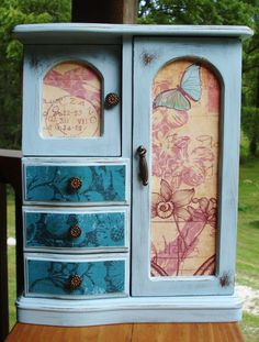 Pretty Blue Jewelry Box Upcycled Shabby Chic Gypsy Decoupage Distressed.
