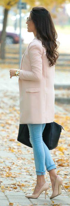 Spring...Trade Secret..Light Pink Notch Lapel Coat