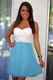 Speak Kind Words Dress: Ivory/Teal